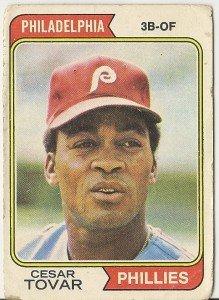 """CESAR TOVAR """"Philadelphia Phillies"""" 1974 #538 Topps Baseball Card"""