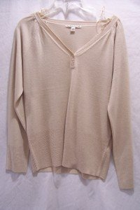 CAROLYN TAYLOR Beige Button V-Neck Knit Sweater SZ M,NI