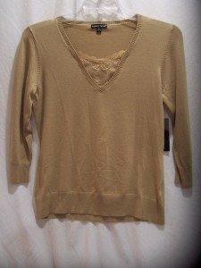 CAROLYN TAYLOR Beige V-Neck Knit Sweater SZ Medium,NWT