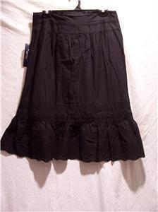 CHAPS Women's Black Tier Skirt, Size: 8, NWT