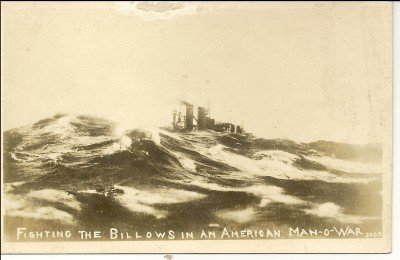 Fighting The Billows In An American Man-O-War Post Card
