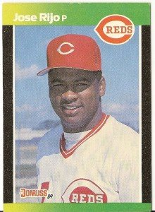 "JOSE RIJO ""Cincinnati Reds"" 1989 #278 Donruss Baseball Card"