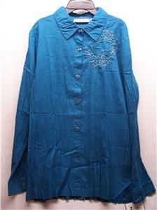 SAG HARBOR~Womens Teal L/S Shirt~Size L~MSRP $36~NWT