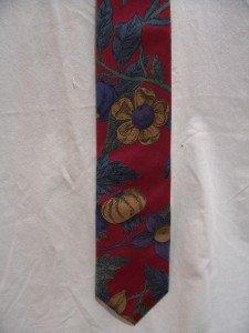 BERT PULITZER All Silk Red, Blue, Beige Flowered Necktie