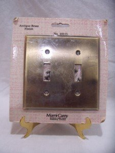 ANTIQUE BRASS FINISH Double Switch Plate, NIP