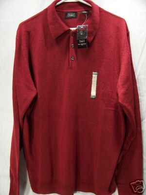 HAGGAR Cranberry Knit 3-button Pull-Over L/S Shirt, Size: Large, NWT