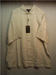 CEZANI Mens Cream S/S Button Front, Camp Shirt, Size: Large, NWT