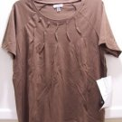 ONGUE CASUALS Womens S/S Brown Top, Size M
