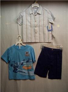 BUSTER BROWN Boy's Short/Shirts Set, Sz 3T,NWT(stripes)