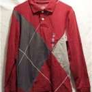 OLD NAVY~Mens L/S Polo Shirt~Gray/Maroon~Size S~NWT