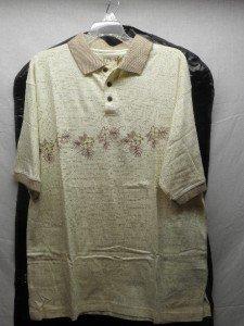 HAGGAR Mens Large, Bone Print Polo Shirt NWT