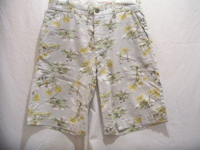 OLD NAVY~Mens Gray With Surf Designs 100% Cotton Khaki Shorts~SZ 28~NWT