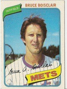 """BRUCE BOISCLAIR """"New York Mets"""" 1980 #654 Topps Baseball Card"""