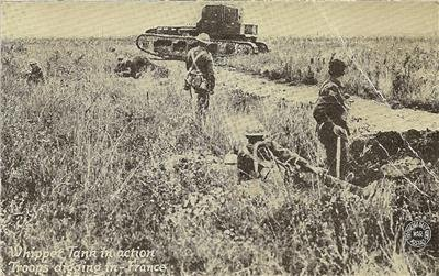WORLD WAR l Post Card Of Whippet Tank In Action