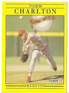 "NORM CHARLTON ""Cincinnati Reds"" 1991 #60 Fleer Baseball Card"