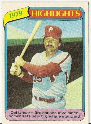 """DEL UNSER """"Philadelphia Phillies"""" 1979 HIGHLIGHTS #6 Topps Baseball Card"""