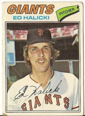"ED HALICKI ""San Francisco Giants"" 1977 #343 Topps Baseball Card"