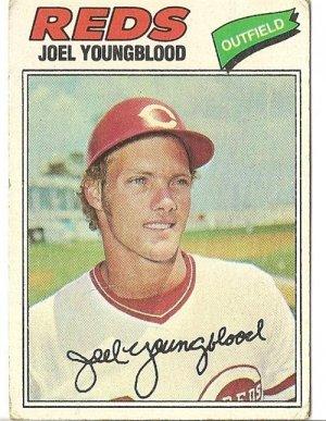 "JOEL YOUNGBLOOD ""Cincinnati Reds"" 1977 #548 Topps Baseball Card"