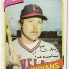 "TOBY HARRAH ""Cleveland Indians"" 1980 #636 Topps Baseball Card"