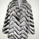 66733r(LADIES STUNNING NATURAL CANADIAN CHINCHILLA HALF SKIN CHEVRON JACKET) - SIZE 14