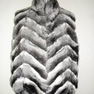 66735r(LADIES STUNNING NATURAL CANADIAN CHINCHILLA HALF SKIN CHERVON VEST (SIZE 12)