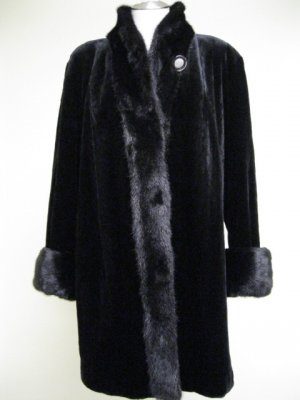 LADIES BLACK SHEARED US MINK STROLLER WITH LONG HAIR MINK TRIM - DND103 (SIZE XL)