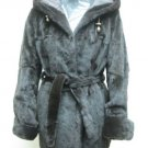 LADIES BROWN CHINA MINK SOS HOOD JACKET REVERSIBLE WOVEN FAB - 64152(SIZE 44=M)