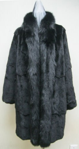 LADIES BLACK PLUCKED US MINK STROLLER W/FOX-66041 (SIZE 16)