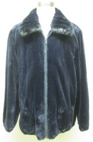 MENS DYED NAVY SHEARED MINK JKT W/CHINCHILLA-65955 (SIZE 3XL)
