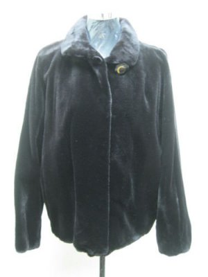 LADIES DYED BLACK SHEARED US MINK JACKET - 42143 (SIZE 55 = M)