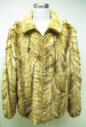 MENS WHISKEY SECTION MINK ZIP UP HOODIE JKT -58893(size XL)