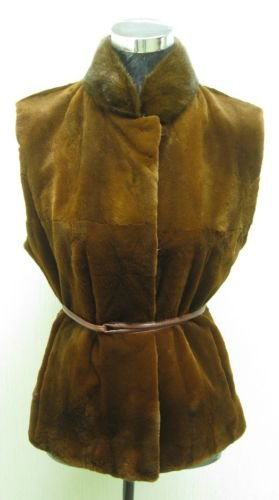 LADIES SHEARED CAMEL MINK VEST - 44225(o) Available size M & L