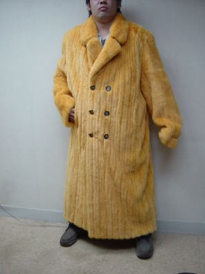 MENS DYED GOLD MINK DOUBLE BREASTED LONG COAT-50261 (SIZE 4XL)