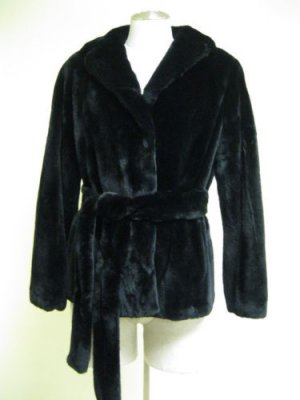 LADIES DYED BLACK SHEARED MINK JKT - 58788 (SZ 55 = SIZE  M)