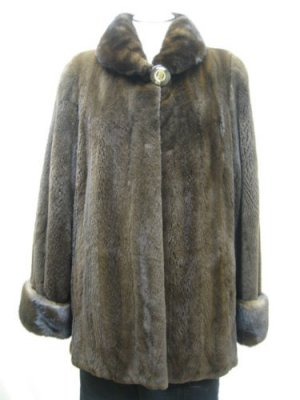 LADIES DYED BROWN SHEARED MINK JACKET - 56917 (SIZE 10)
