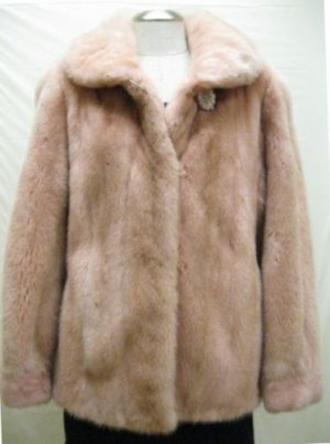 LADIES DYED PINK LET OUT US MINK JACKET - 36644 (SZ M)