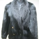 LADIES DYED BLACK RACCOON JACKET - 21051 (SIZE M)