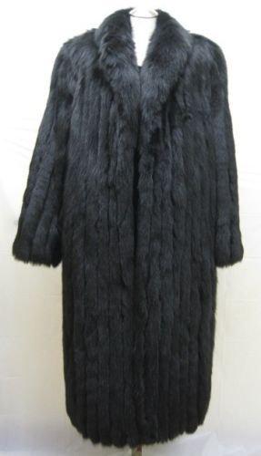 LADIES MAMA SIZE DYED BLACK FOX COAT - 59446(o)  SIZE 2XL