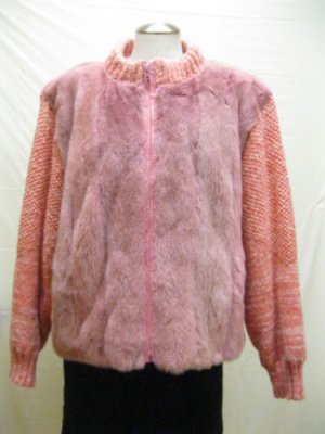 LADIES DYED PINK US MINK VEST+KNITTED SLEEVE JACKET  - 61268 (SZ 12)