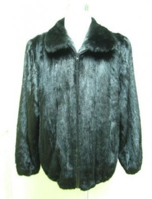 MENS BIG & TALL RANCH US MINK ZIP UP BOMBER JACKET-66269(o) size  48/50/52/54)