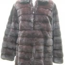 LADIES DYED BURGUNDY PLUCKED MINK JACKET-38381 (SZ M/L)
