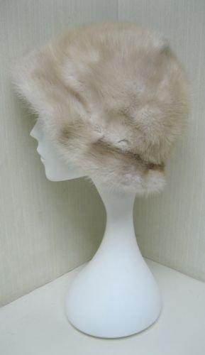 LADIES CUTE BEIGE  FANCY  MINK HAT - 115