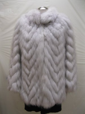 LADIES CUTE NATURE BLUE FOX CHEVRON JACKET-61069(o) Size 8