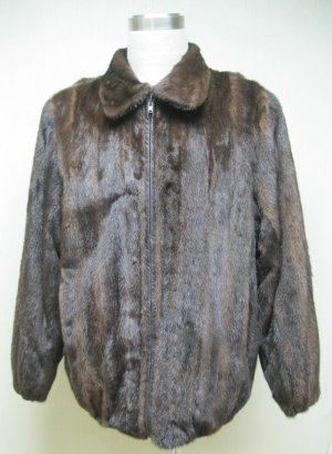 MENS REGULAR MAHOGANY USA MINK BOMBER ZIP UP JACKET-67002 (SZ XL)