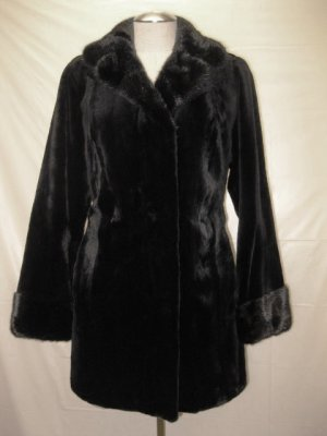 LADIES SHEARED BLK MINK STROLLER +LONG HAIR MINK-40364 (SIZE 55 = SIZE M)