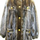 LADIES MAHOGANY US MINK JACKET TRIM WITH SHEARED MINK - 39024(o) SIZE M