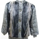 LADIES BLACK/BLUE IRIS MINK JKT W/KNIT SLEEVE 45161(o) SIZE 12