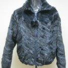 LADIES DYED DARK BLUE SECTION MINK ZIP UP JACKET - 66917 (SZ 14)