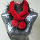 CUTE RED REX KNITTED SCARF TRIM WITH BLACK OSTRICH FEATHER- ST#K035