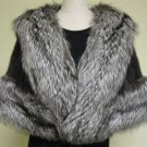 LADIES DARK GRAY MINK CAPE W/SILVER FOX -64442(o) ( SZ F)